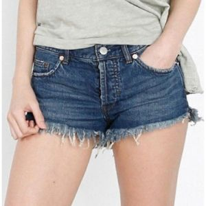Free People dark wash button fly cut off shorts